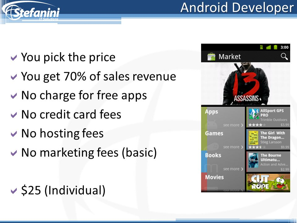 Android Developer You pick the price You get 70% of sales revenue