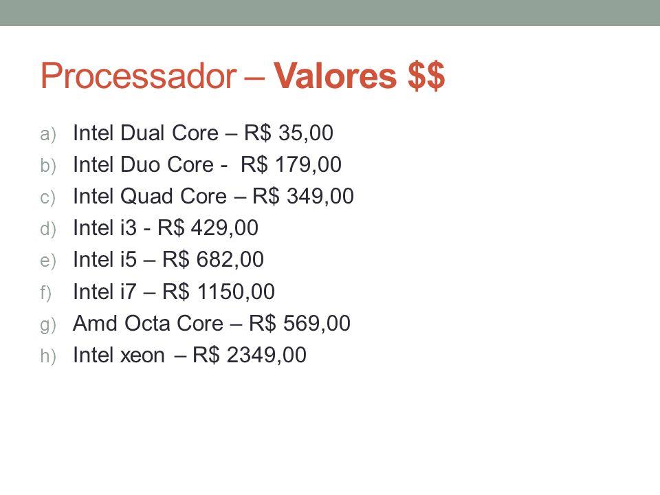 Processador – Valores $$