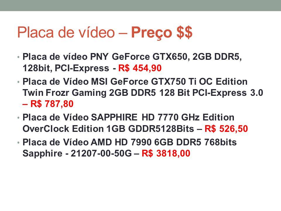Placa de vídeo – Preço $$