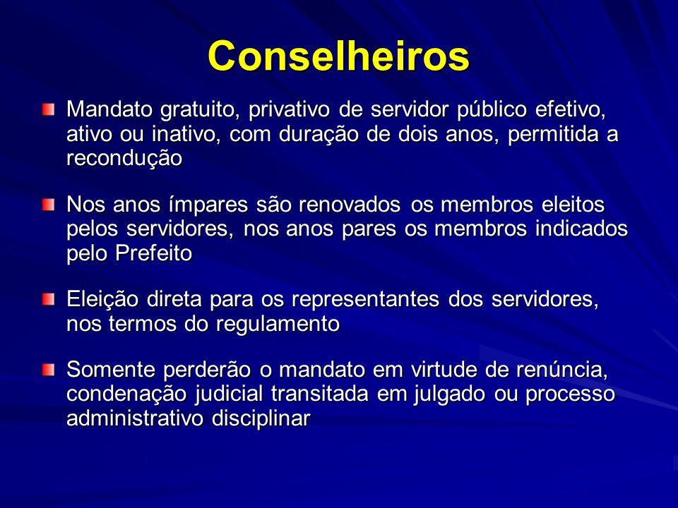Conselheiros Mandato gratuito, privativo de servidor público efetivo, ativo ou inativo, com duração de dois anos, permitida a recondução.