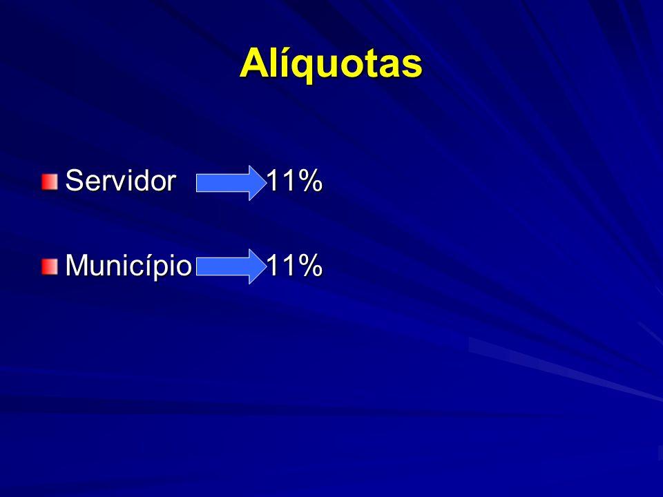 Alíquotas Servidor 11% Município 11%