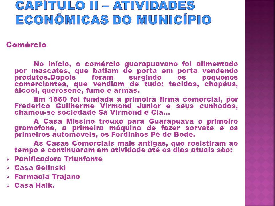 CAPÍTULO II – ATIVIDADES ECONÔMICAS DO MUNICÍPIO