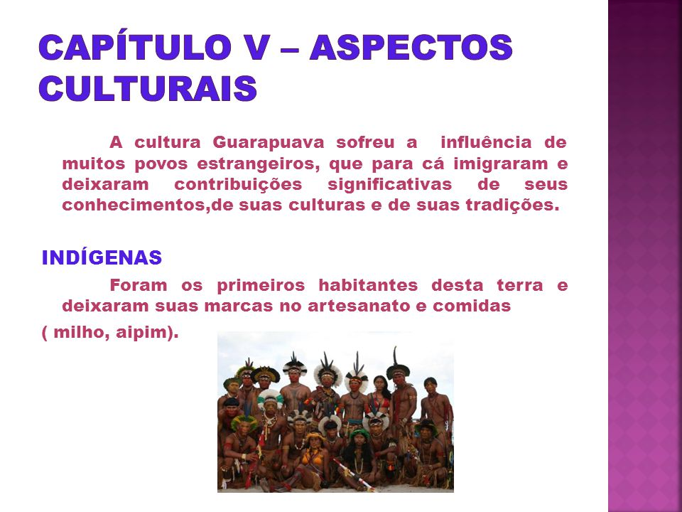 CAPÍTULO V – ASPECTOS CULTURAIS