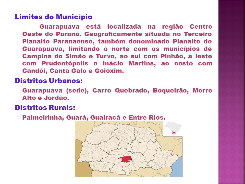 Limites do Município Distritos Urbanos: Distritos Rurais: