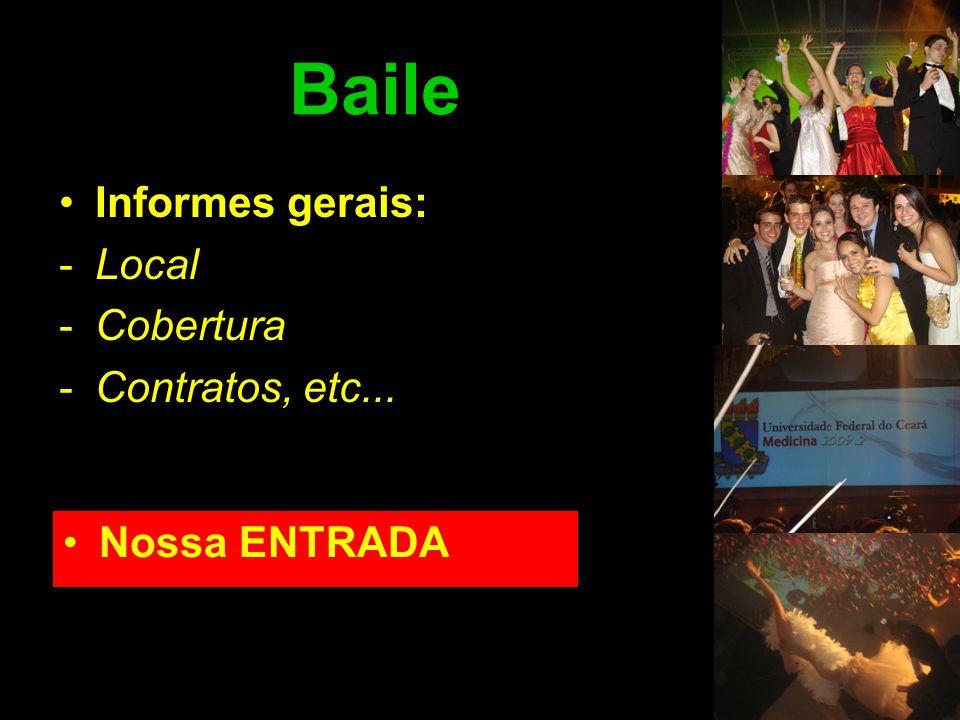 Baile Informes gerais: Local Cobertura Contratos, etc... Nossa ENTRADA