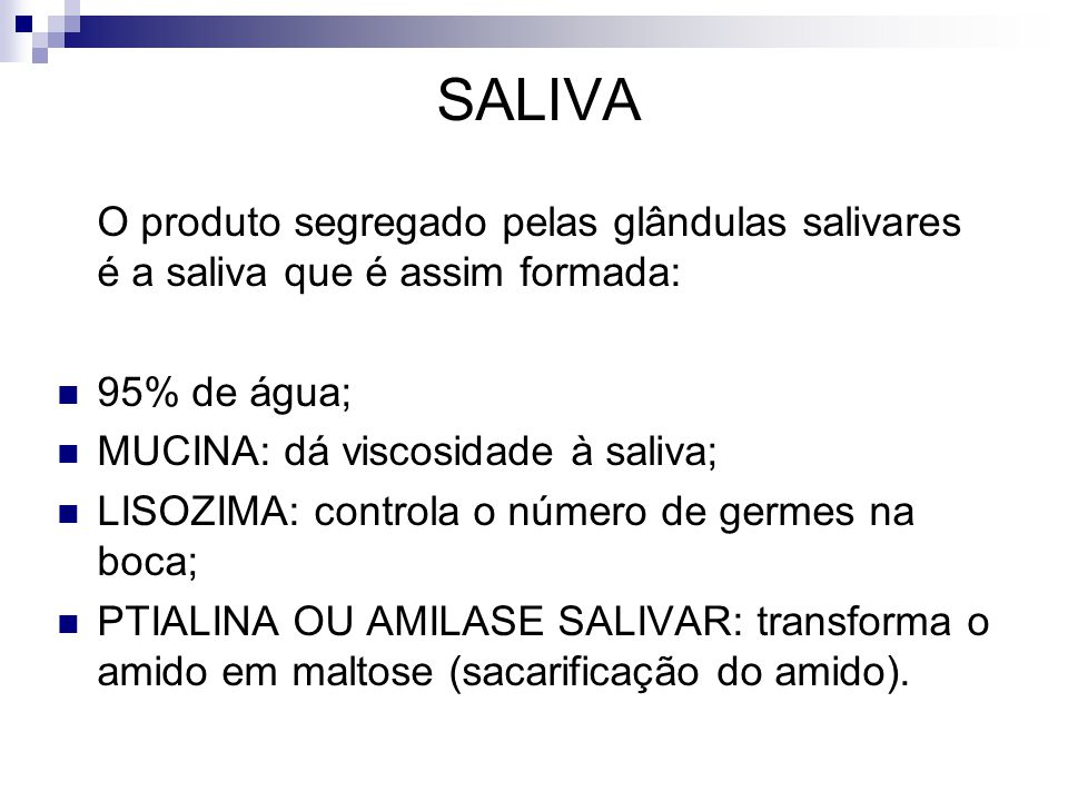 SALIVA O produto segregado pelas glândulas salivares é a saliva que é assim formada: 95% de água; MUCINA: dá viscosidade à saliva;