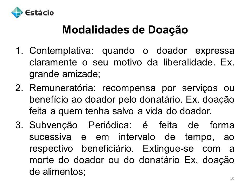 Modalidades de Doação Contemplativa: quando o doador expressa claramente o seu motivo da liberalidade. Ex. grande amizade;
