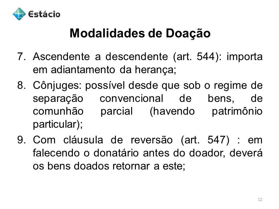 Modalidades de Doação Ascendente a descendente (art. 544): importa em adiantamento da herança;