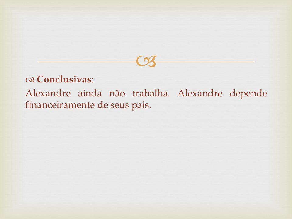 Conclusivas: Alexandre ainda não trabalha. Alexandre depende financeiramente de seus pais.
