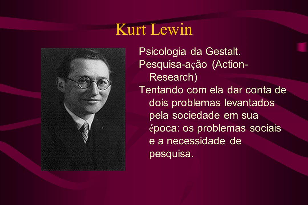 Kurt Lewin Psicologia da Gestalt. Pesquisa-ação (Action-Research)