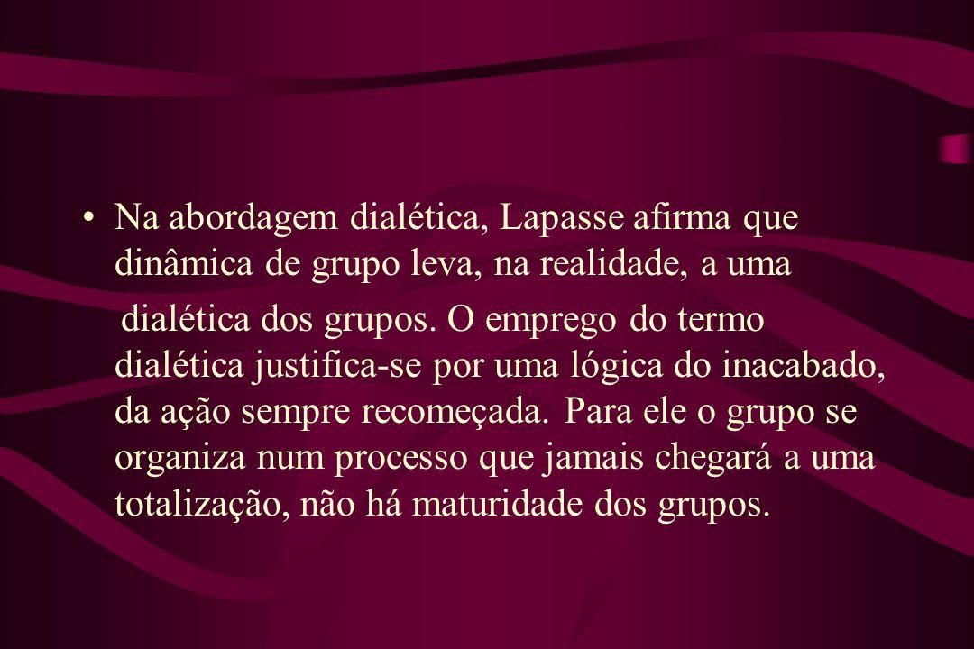 Na abordagem dialética, Lapasse afirma que dinâmica de grupo leva, na realidade, a uma