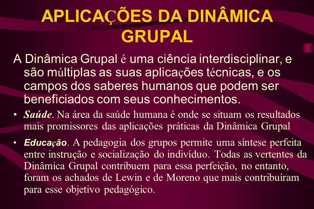 APLICAÇÕES DA DINÂMICA GRUPAL