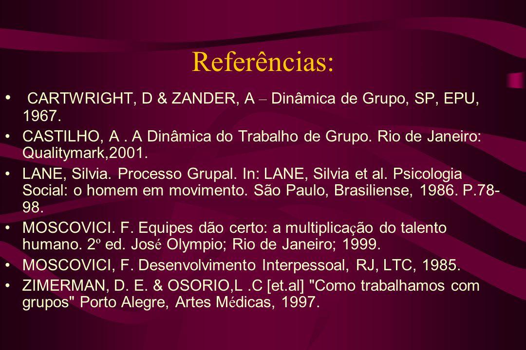 Referências:CARTWRIGHT, D & ZANDER, A – Dinâmica de Grupo, SP, EPU, 1967.