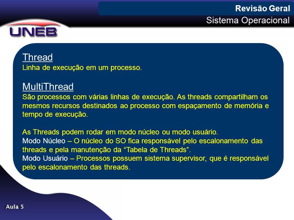 Thread MultiThread Revisão Geral Linha de execução em um processo.