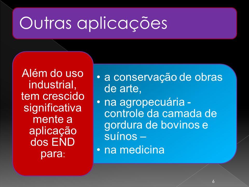 Outras aplicações Além do uso industrial, tem crescido significativamente a aplicação dos END para: