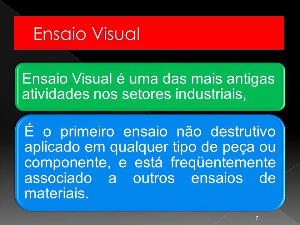 Ensaio Visual Ensaio Visual é uma das mais antigas atividades nos setores industriais,