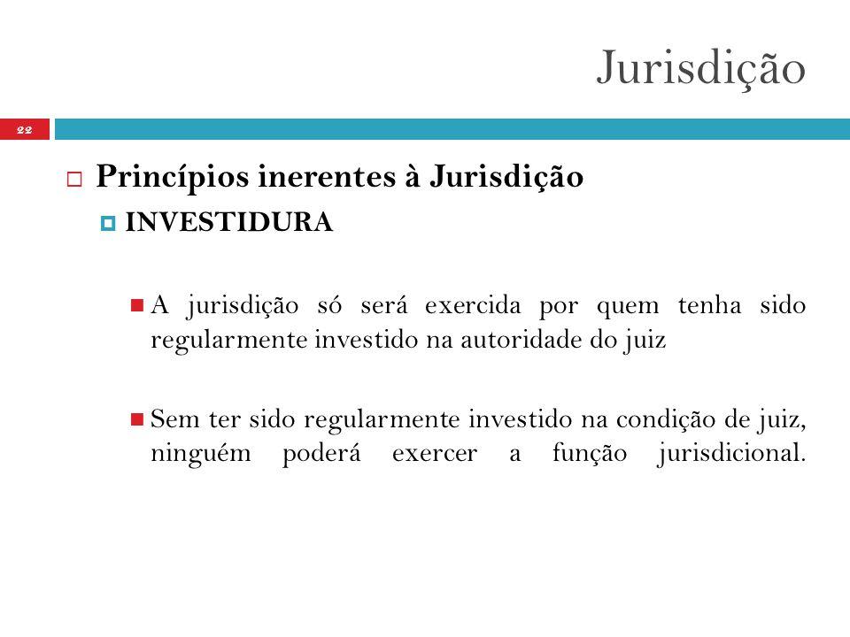 Jurisdição Princípios inerentes à Jurisdição INVESTIDURA