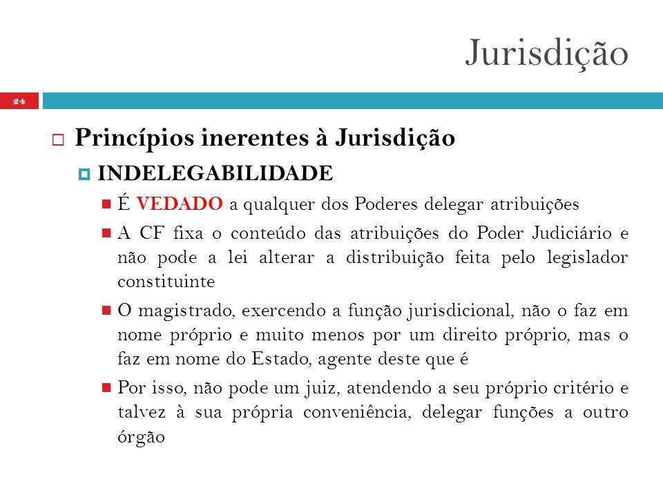 Jurisdição Princípios inerentes à Jurisdição INDELEGABILIDADE