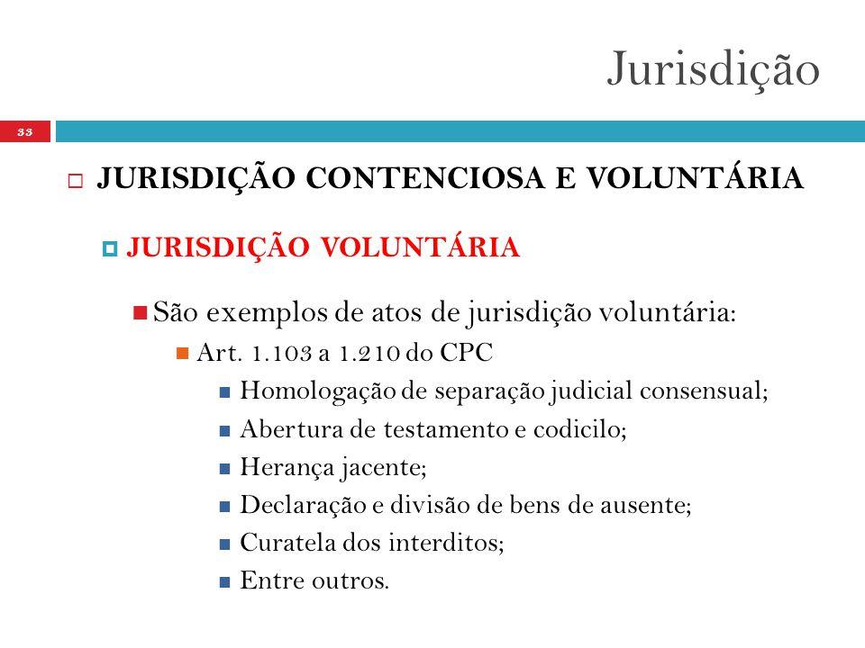 Jurisdição JURISDIÇÃO CONTENCIOSA E VOLUNTÁRIA
