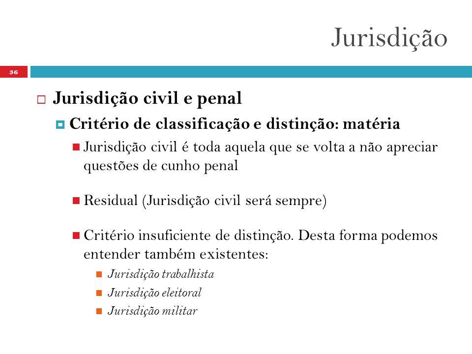 Jurisdição Jurisdição civil e penal