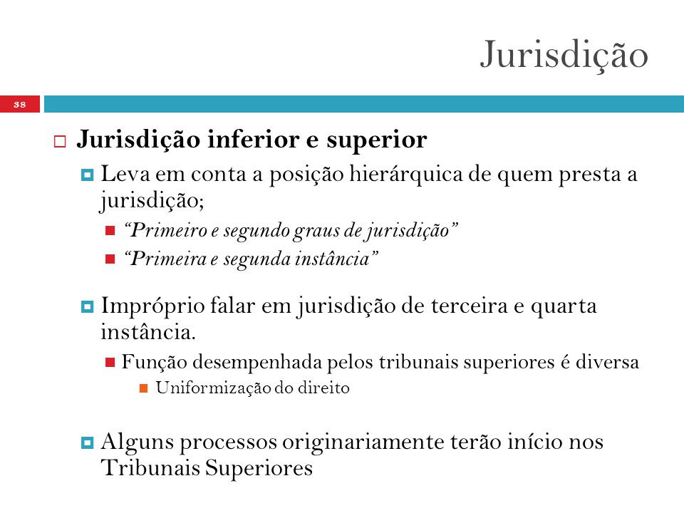 Jurisdição Jurisdição inferior e superior