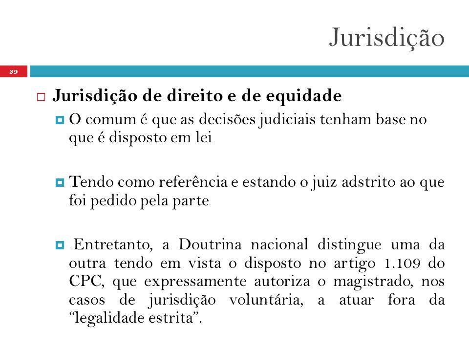 Jurisdição Jurisdição de direito e de equidade