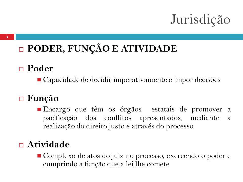 Jurisdição PODER, FUNÇÃO E ATIVIDADE Poder Função Atividade