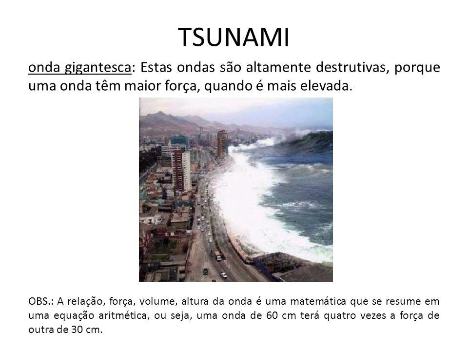 TSUNAMI onda gigantesca: Estas ondas são altamente destrutivas, porque uma onda têm maior força, quando é mais elevada.