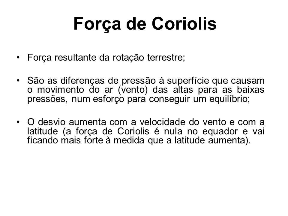 Força de Coriolis Força resultante da rotação terrestre;