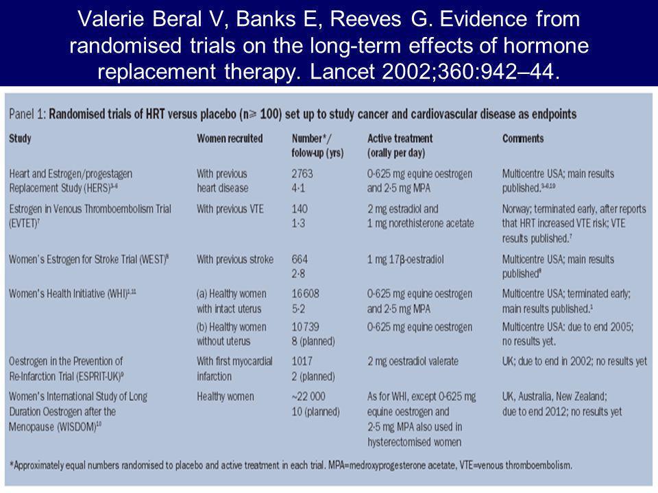 Valerie Beral V, Banks E, Reeves G