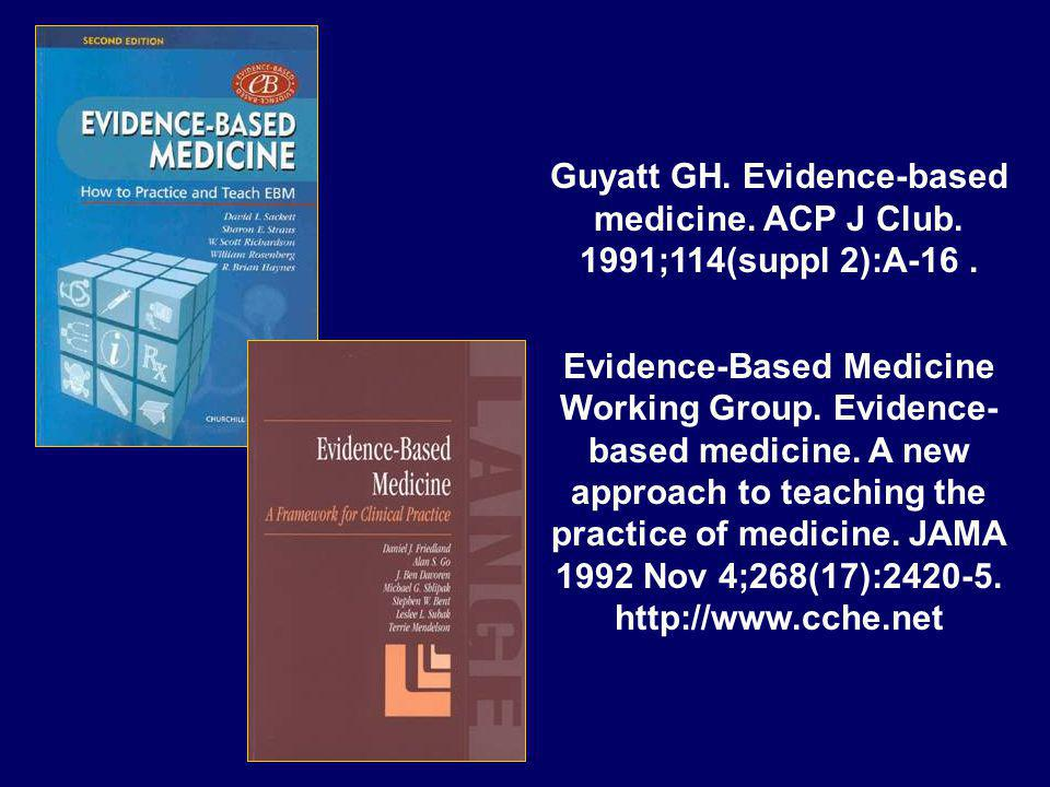 Guyatt GH. Evidence-based medicine. ACP J Club. 1991;114(suppl 2):A-16 .