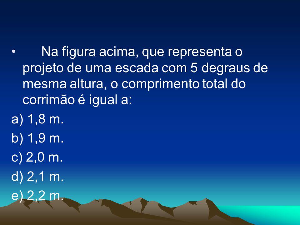 Na figura acima, que representa o projeto de uma escada com 5 degraus de mesma altura, o comprimento total do corrimão é igual a: