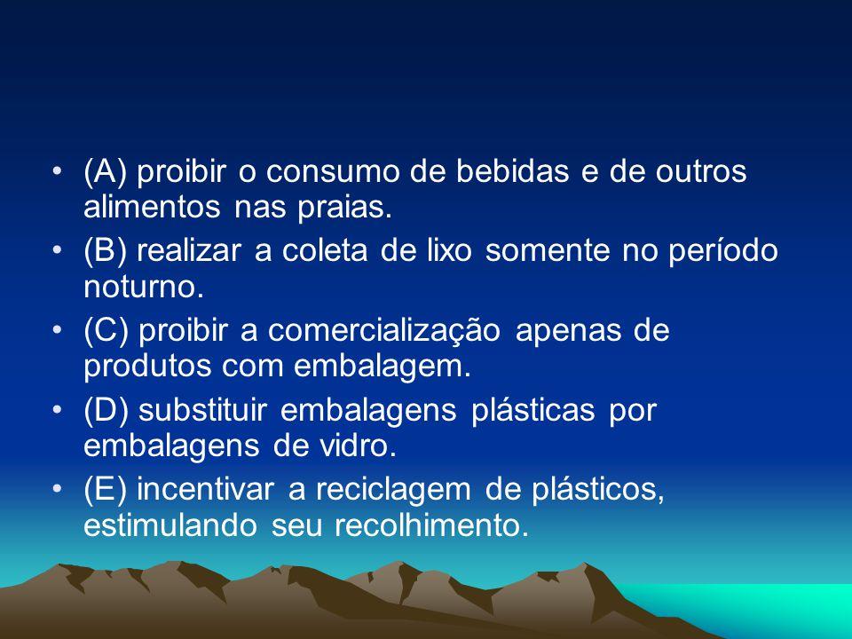 (A) proibir o consumo de bebidas e de outros alimentos nas praias.