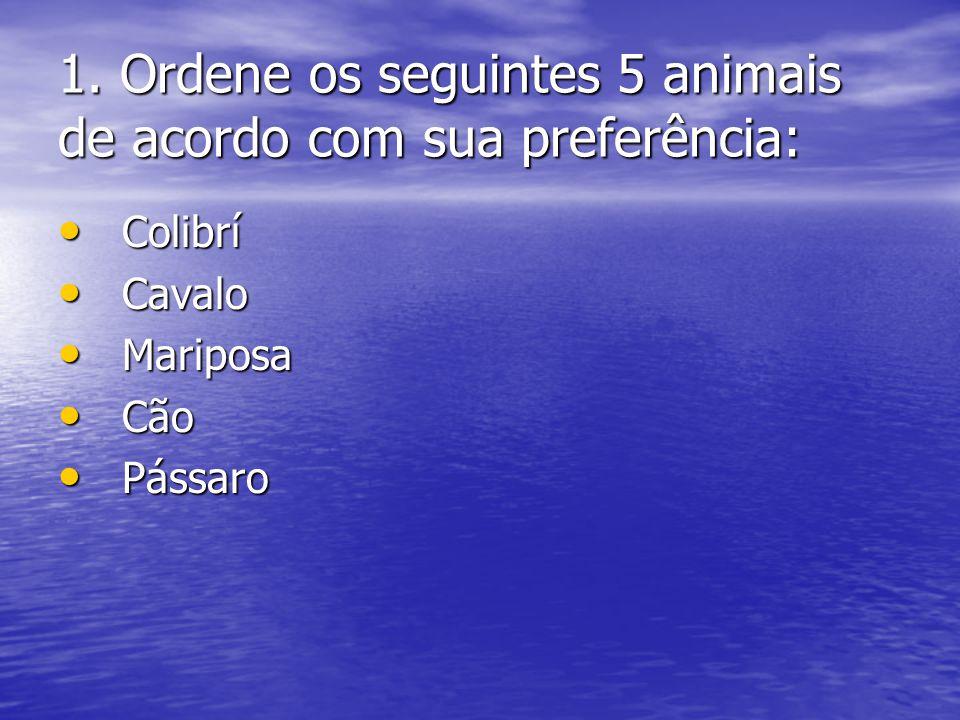 1. Ordene os seguintes 5 animais de acordo com sua preferência: