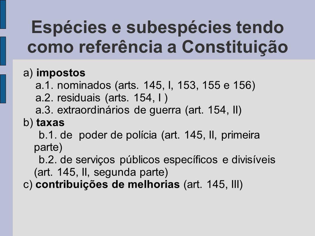 Espécies e subespécies tendo como referência a Constituição
