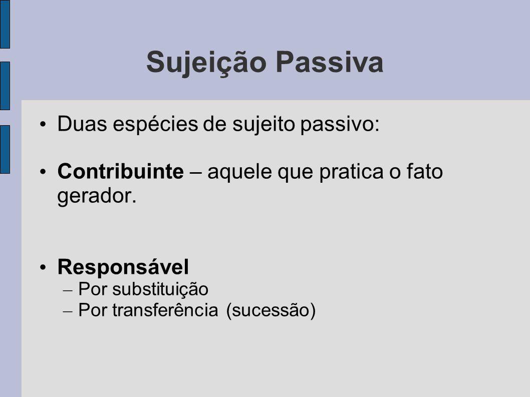 Sujeição Passiva Duas espécies de sujeito passivo: