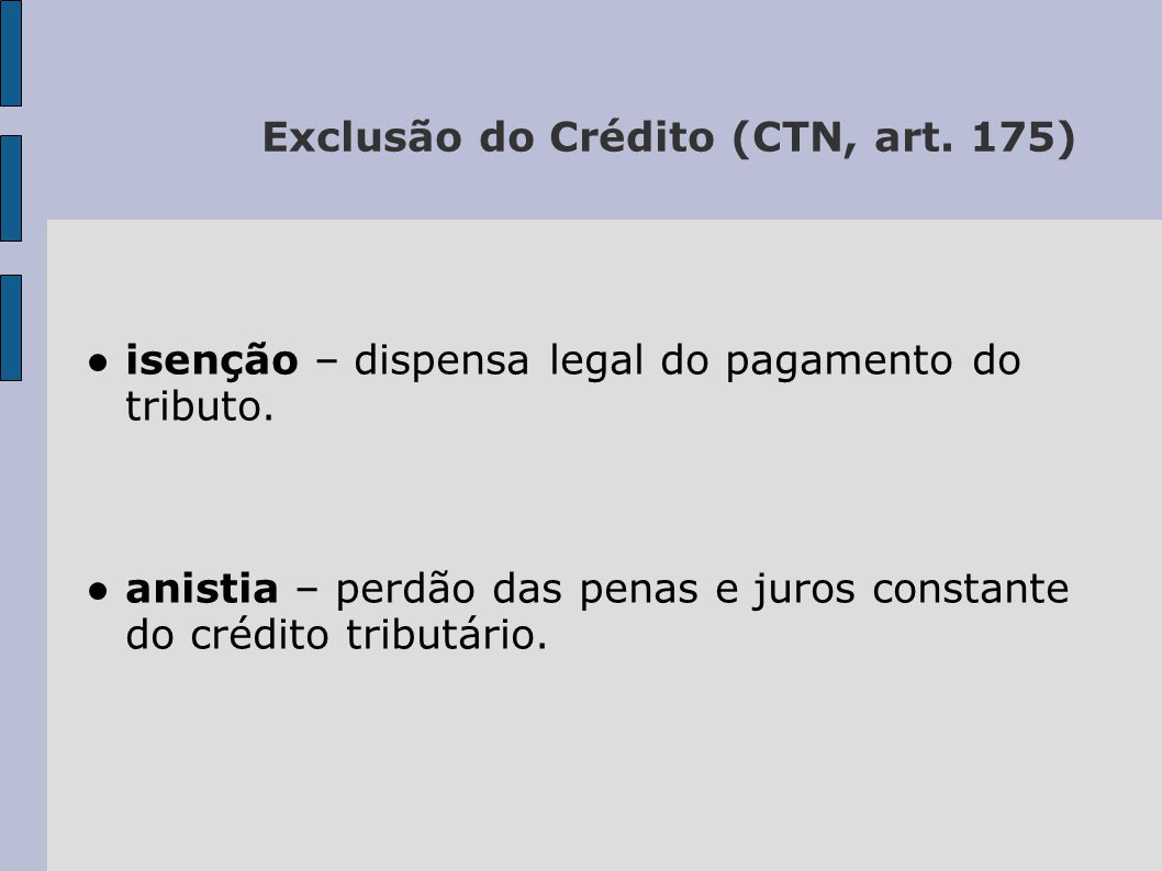 Exclusão do Crédito (CTN, art. 175)
