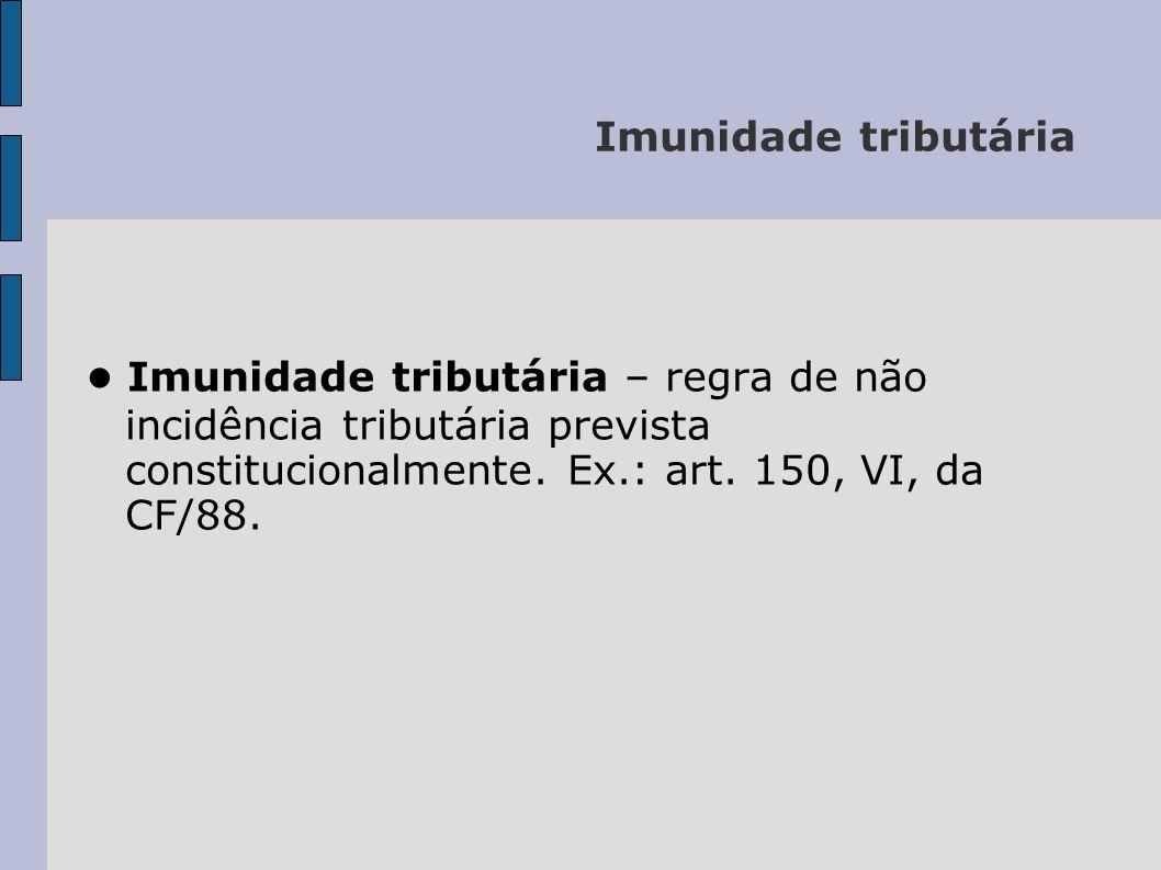 Imunidade tributária ● Imunidade tributária – regra de não incidência tributária prevista constitucionalmente.