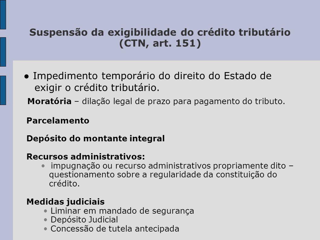 Suspensão da exigibilidade do crédito tributário (CTN, art. 151)