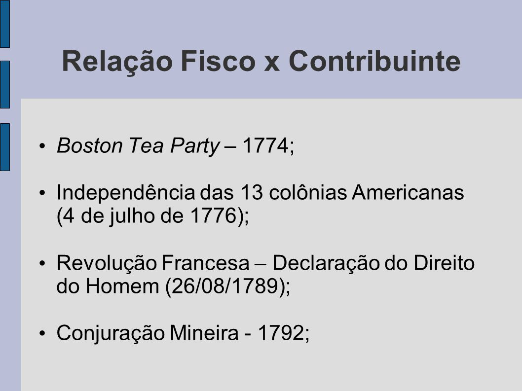 Relação Fisco x Contribuinte