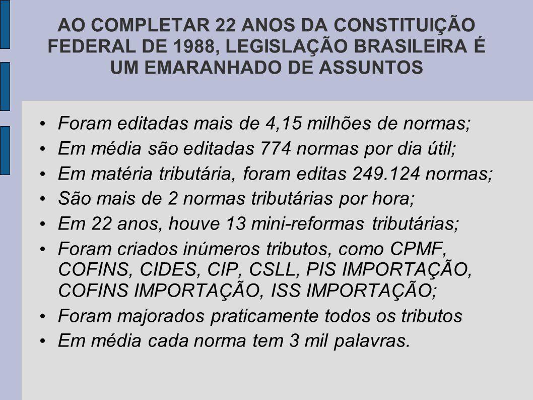 AO COMPLETAR 22 ANOS DA CONSTITUIÇÃO FEDERAL DE 1988, LEGISLAÇÃO BRASILEIRA É UM EMARANHADO DE ASSUNTOS