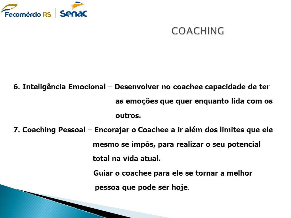 COACHING 6. Inteligência Emocional – Desenvolver no coachee capacidade de ter as emoções que quer enquanto lida com os outros.