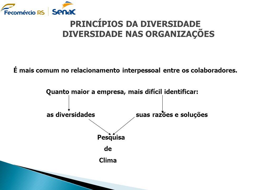 PRINCÍPIOS DA DIVERSIDADE DIVERSIDADE NAS ORGANIZAÇÕES