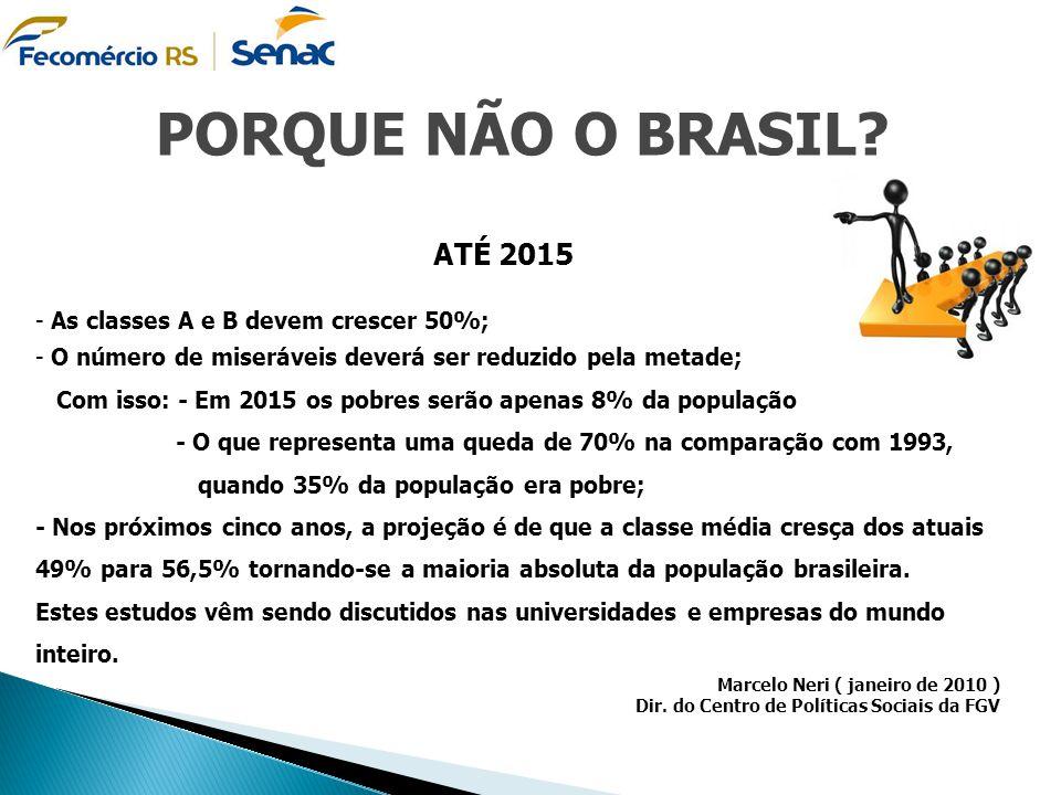 PORQUE NÃO O BRASIL ATÉ 2015 As classes A e B devem crescer 50%;