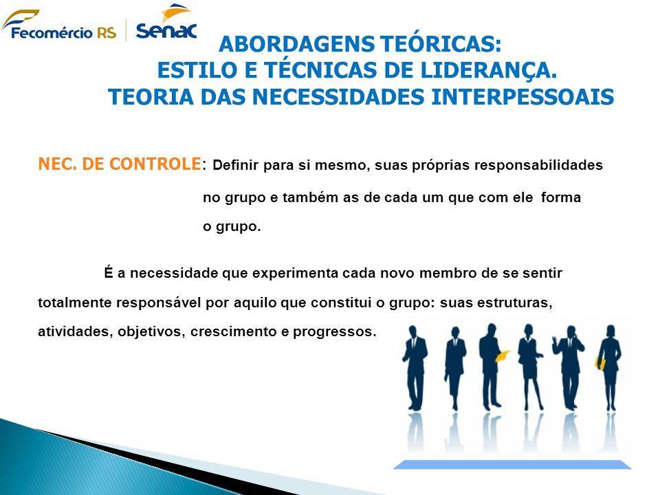 TEORIA DAS NECESSIDADES INTERPESSOAIS NECESSIDADE DE CONTROLE