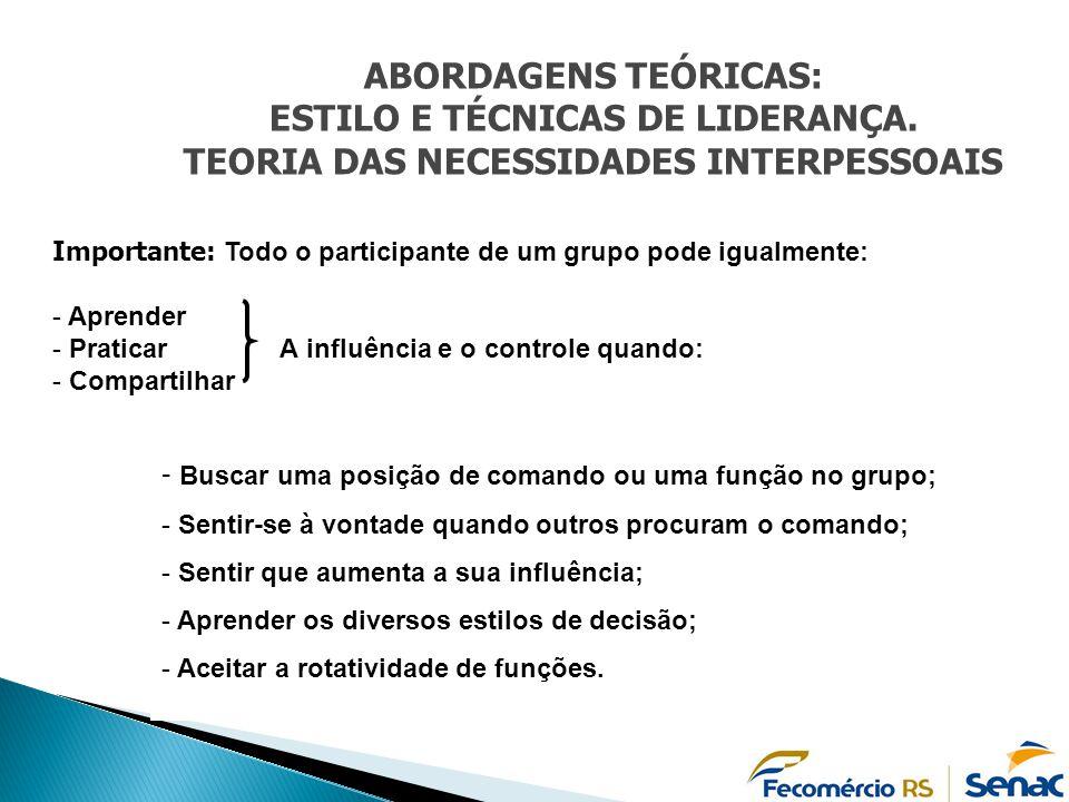 TEORIA DAS NECESSIDADES INTERPESSOAIS