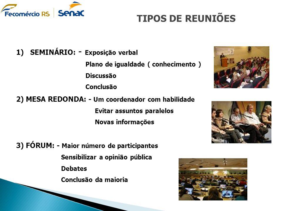 TIPOS DE REUNIÕES SEMINÁRIO: - Exposição verbal