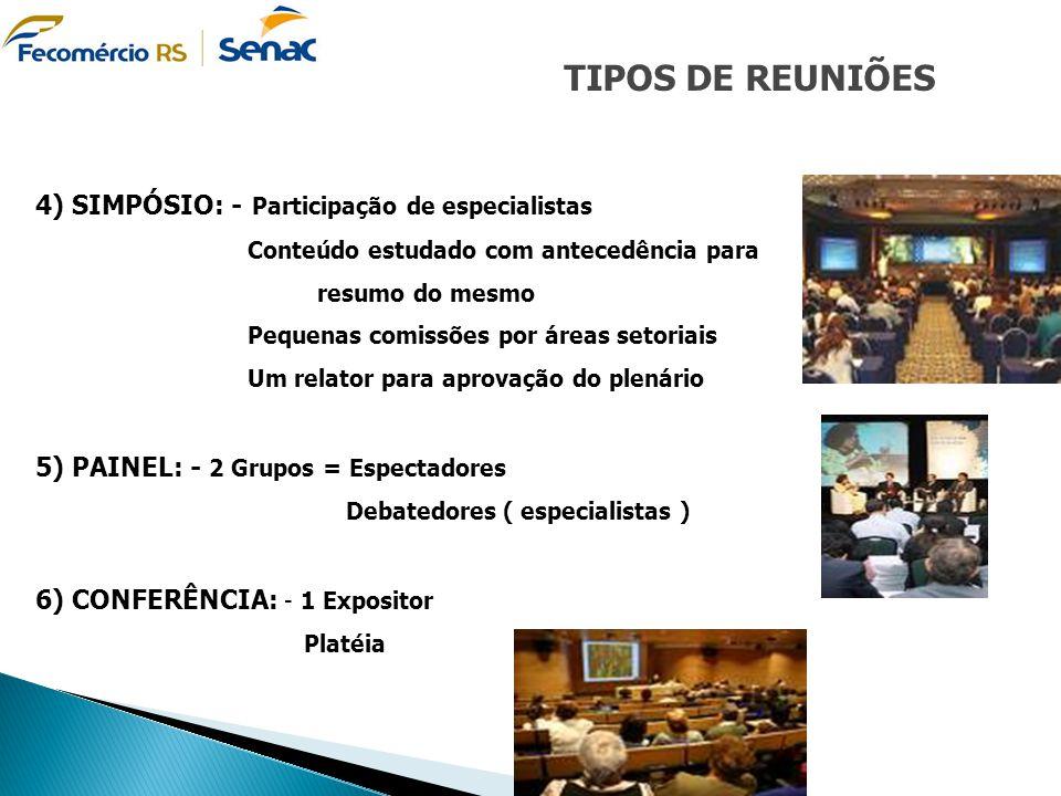TIPOS DE REUNIÕES 4) SIMPÓSIO: - Participação de especialistas