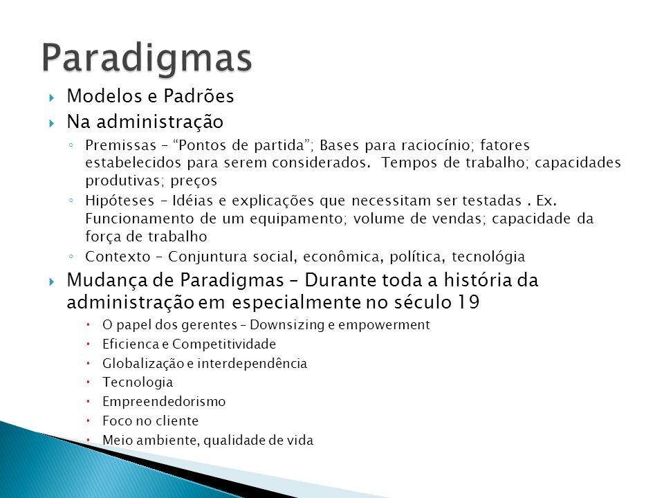 Paradigmas Modelos e Padrões Na administração