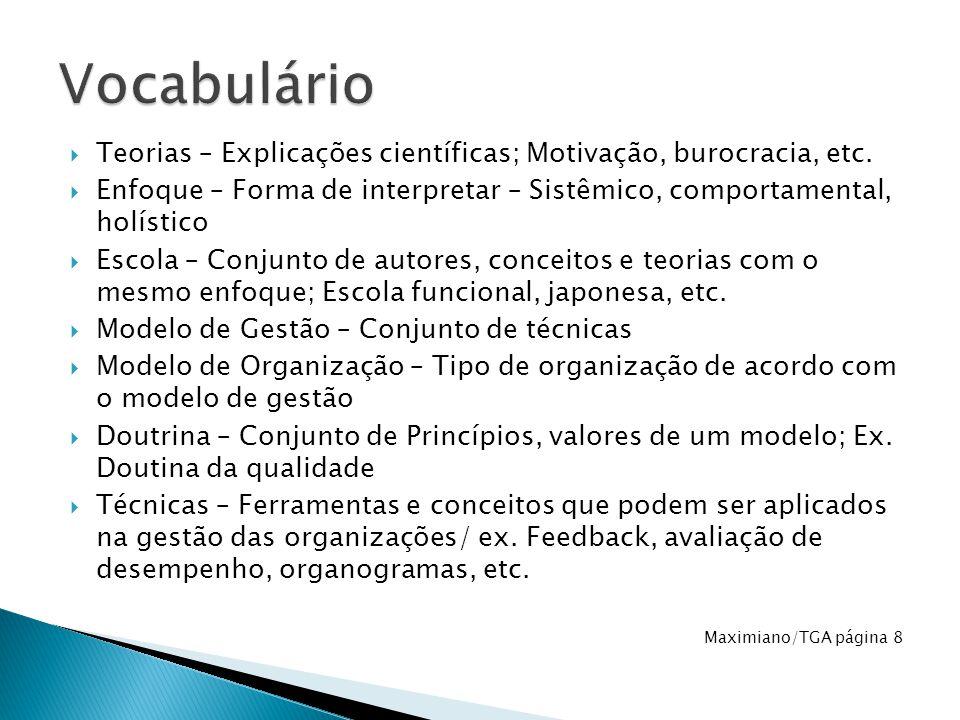 Vocabulário Teorias – Explicações científicas; Motivação, burocracia, etc. Enfoque – Forma de interpretar – Sistêmico, comportamental, holístico.